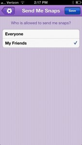 Snap Chat Settings - Friends